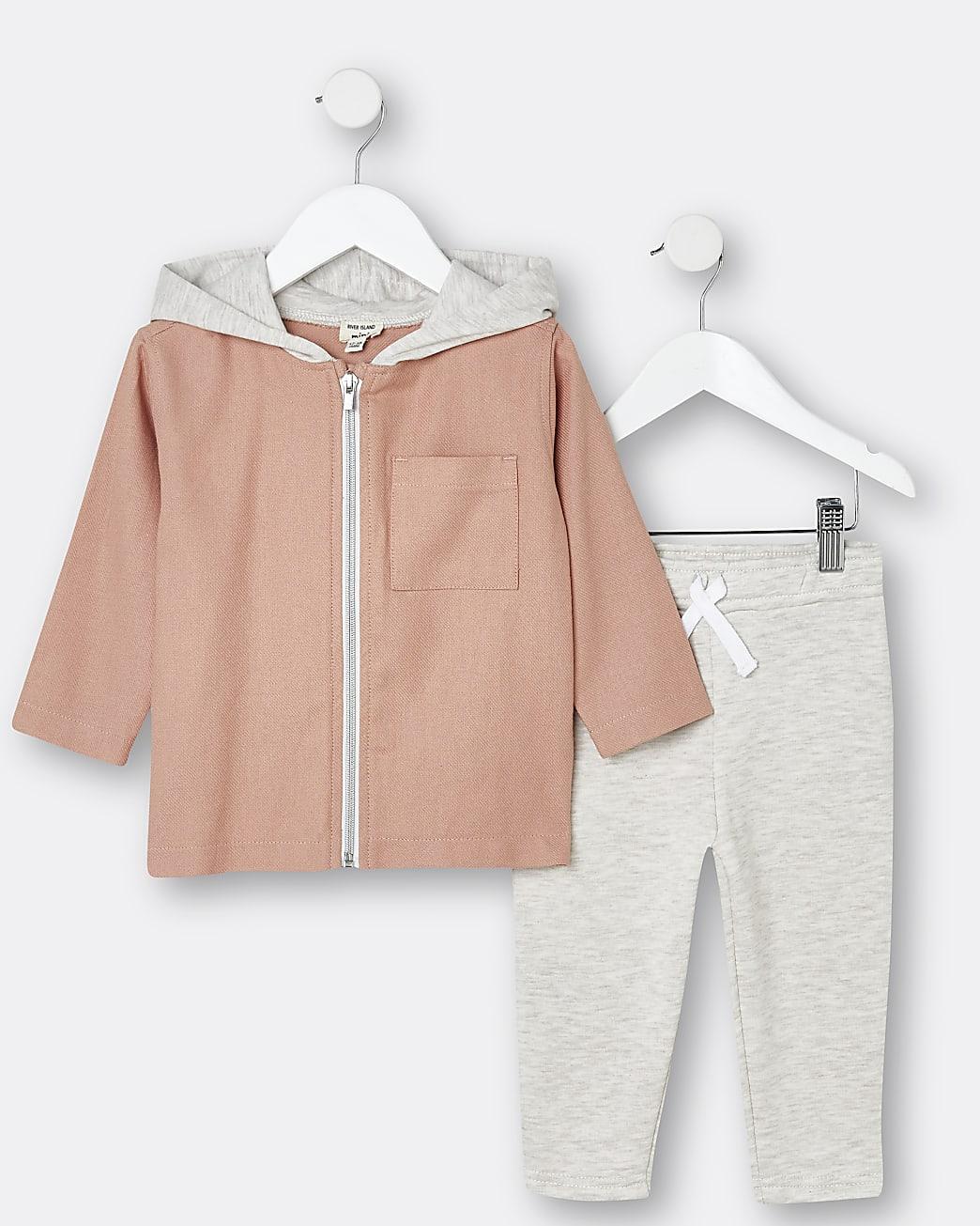 Mini boys pink back print overshirt outfit