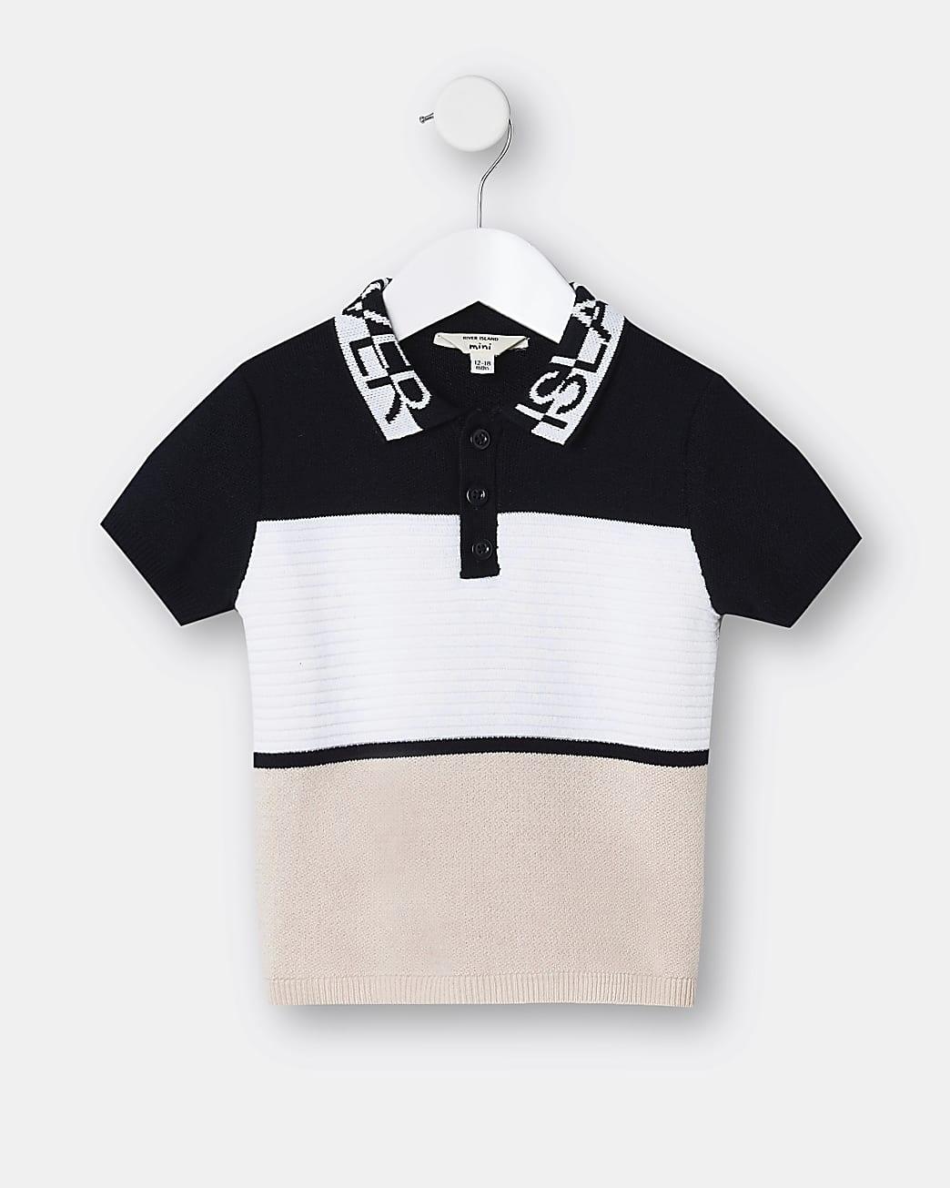 Mini boys pink half and half collar polo