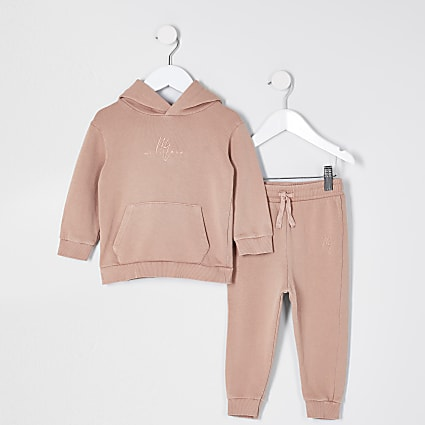 Mini boys pink hoodie and jogger outfit