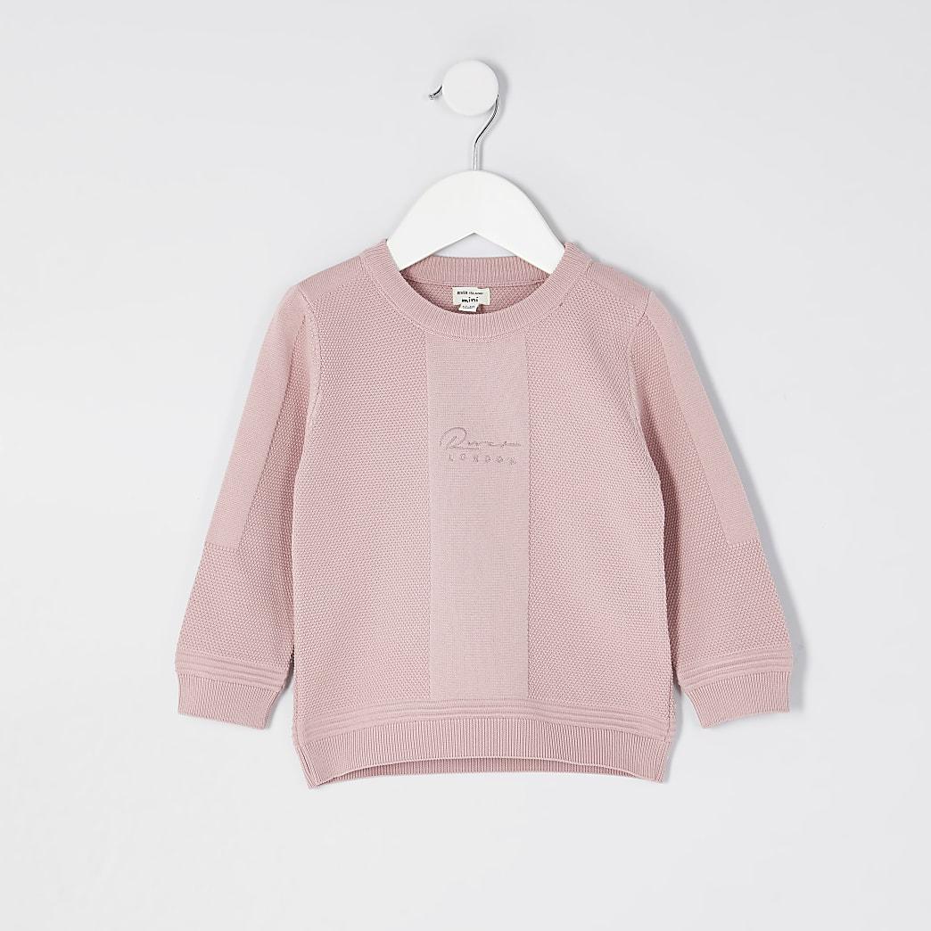 Mini boys pink knitted jumper