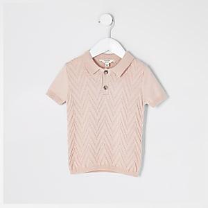 Mini - Roze gebreid poloshirt voor jongens