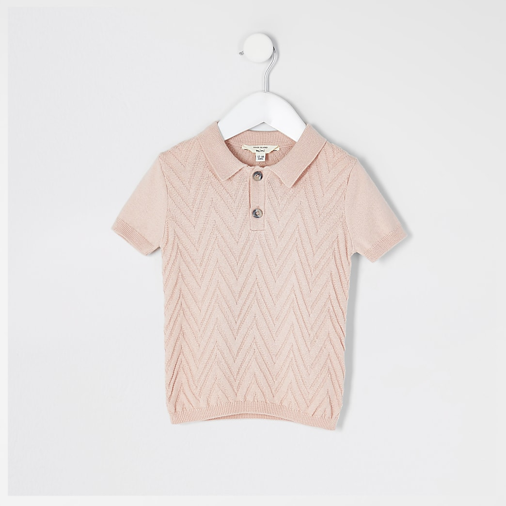 Mini Boys pink knitted polo shirt