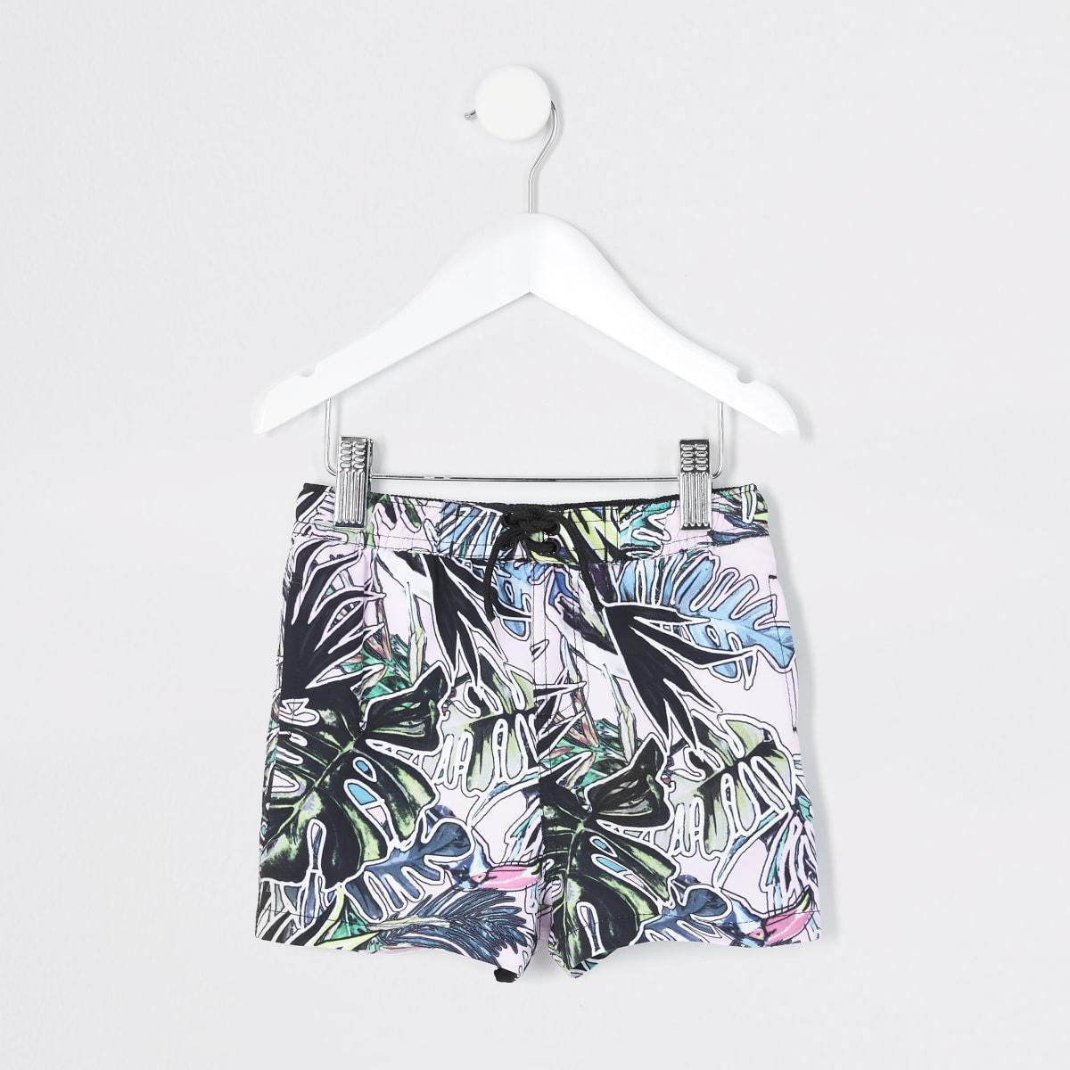 Mini boys pink leaf printed swim shorts