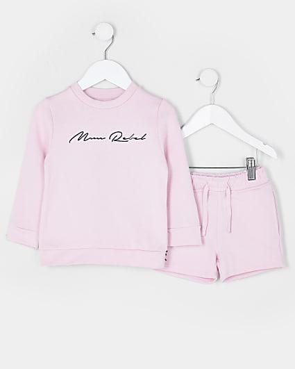 Mini boys pink 'Mini Rebel' sweatshirt outfit