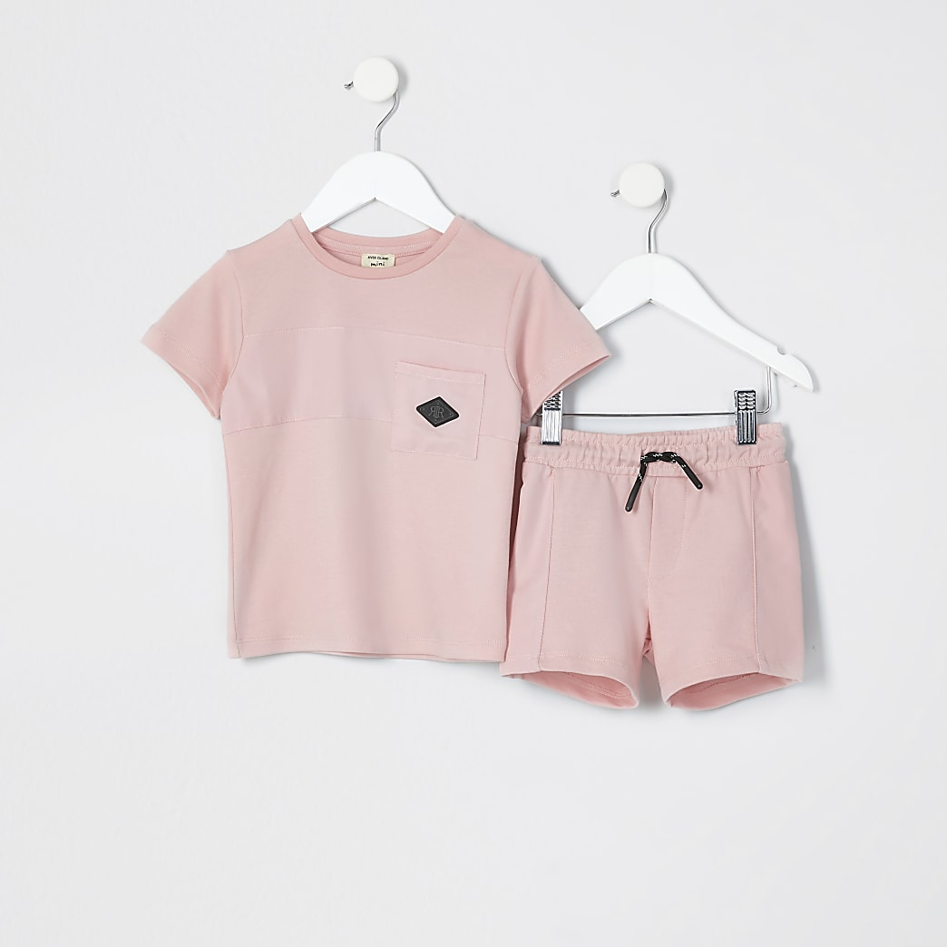 Mini boys pink nylon pocket t-shirt outfit