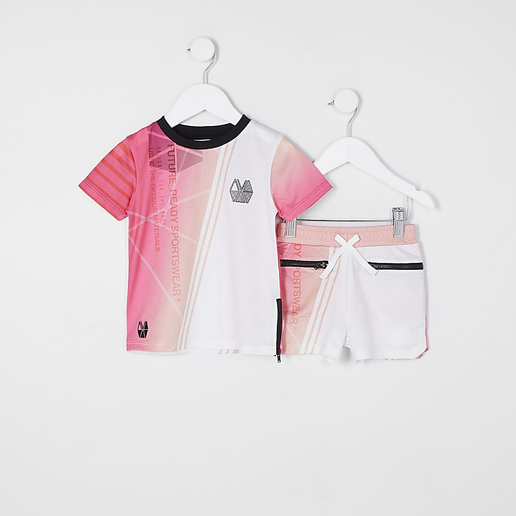 Mini boys pink RI Active mesh outfit