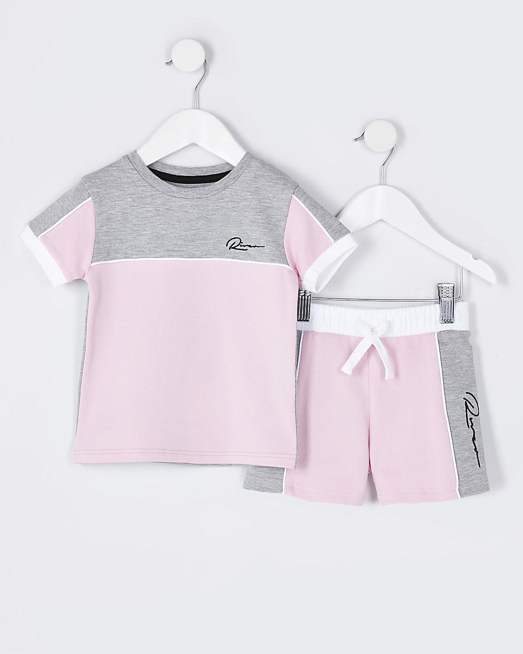 Mini boys pink RI t-shirt and shorts outfit