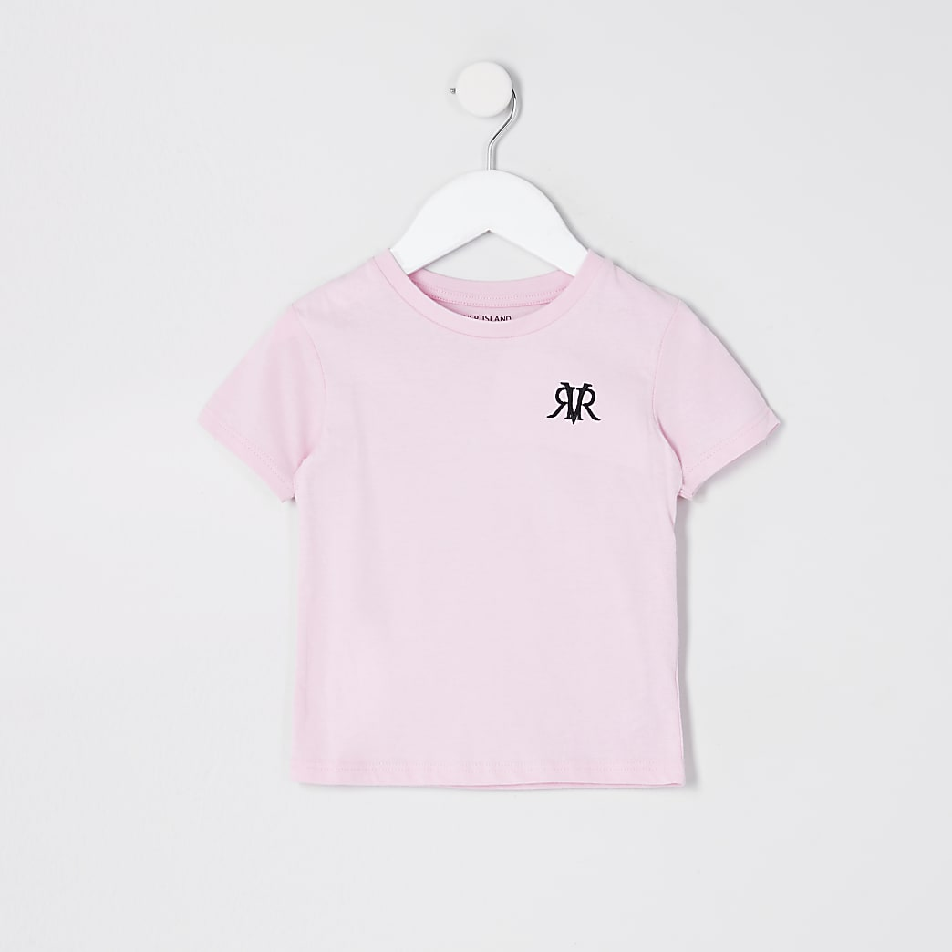 Mini boys pink 'River' embroidered T-shirt