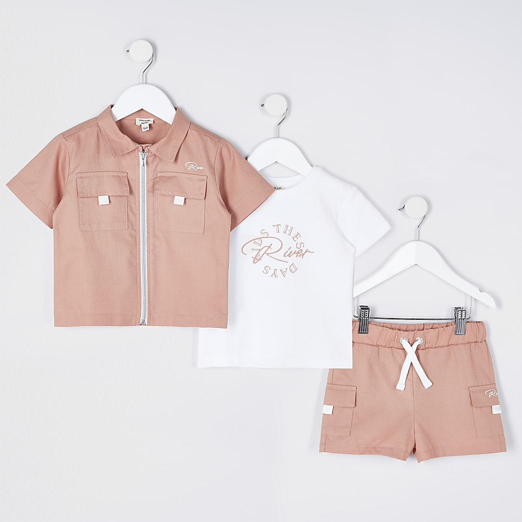 Mini boys pink shacket 3 piece outfit