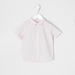Mini - Roze overhemd  met korte mouwen van keperstof voor jongens