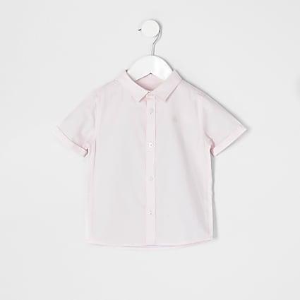 Mini boys pink short sleeve twill shirt