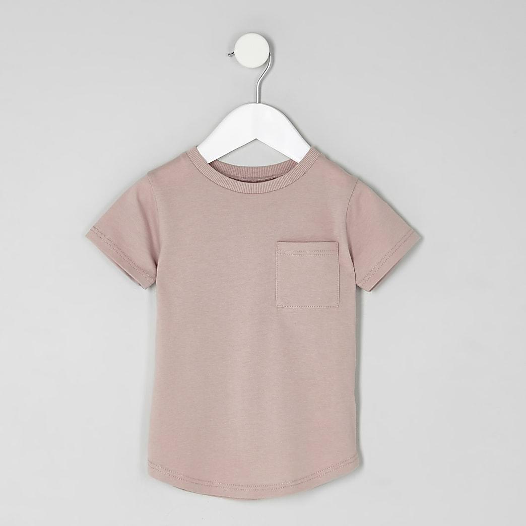 Mini - Roze T-shirt met korte mouwen met omslagen voor jongens