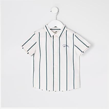 Mini boys pink stripe 'River' shirt