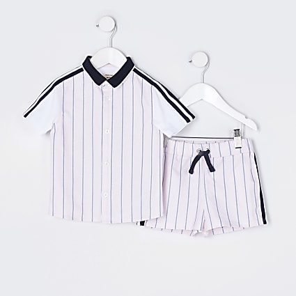 Mini boys pink stripe shirt outfit