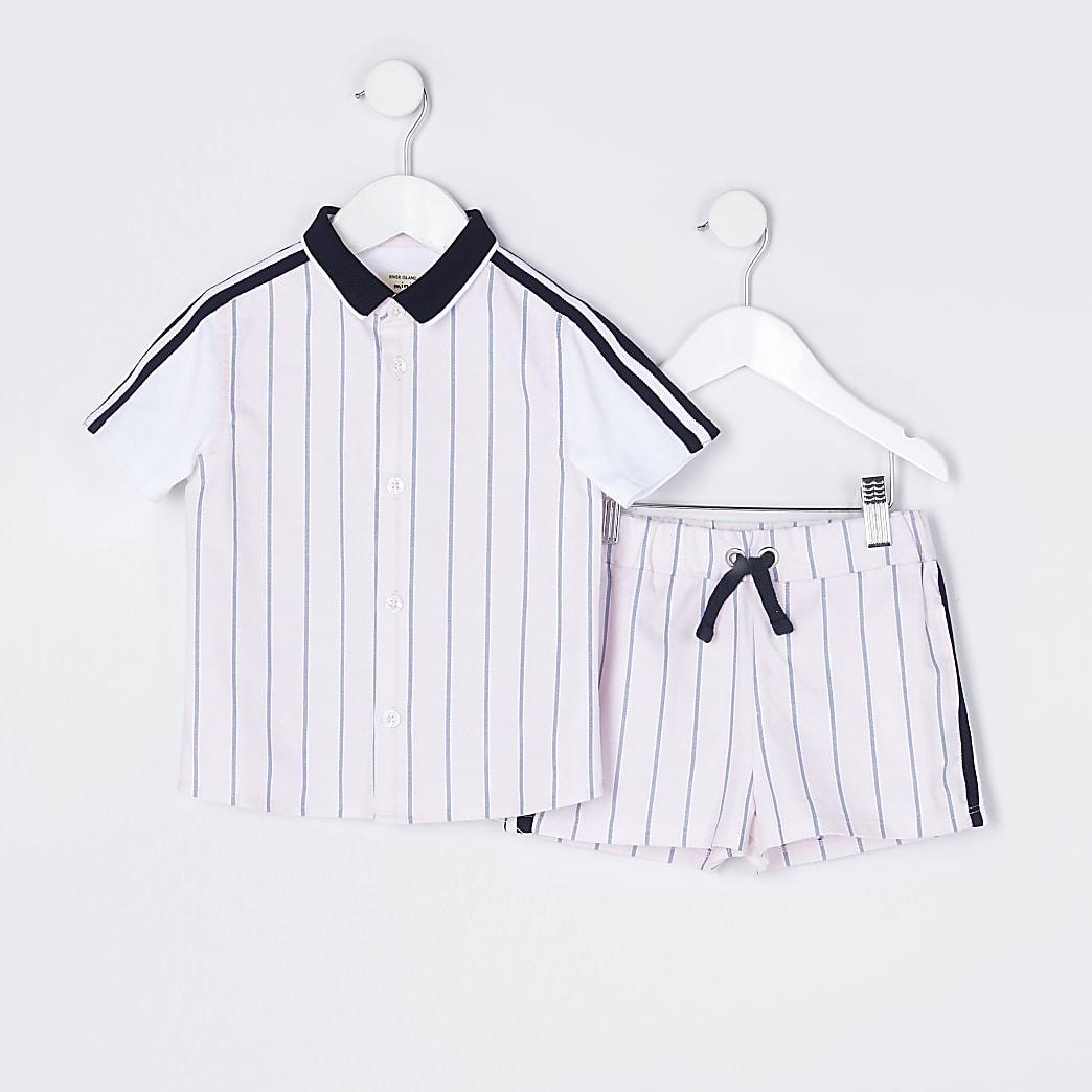 Mini boys pink stripe shirt outfit