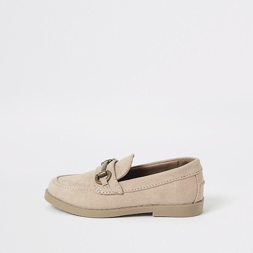 Mini - Roze suèdine loafers met trens voor jongens