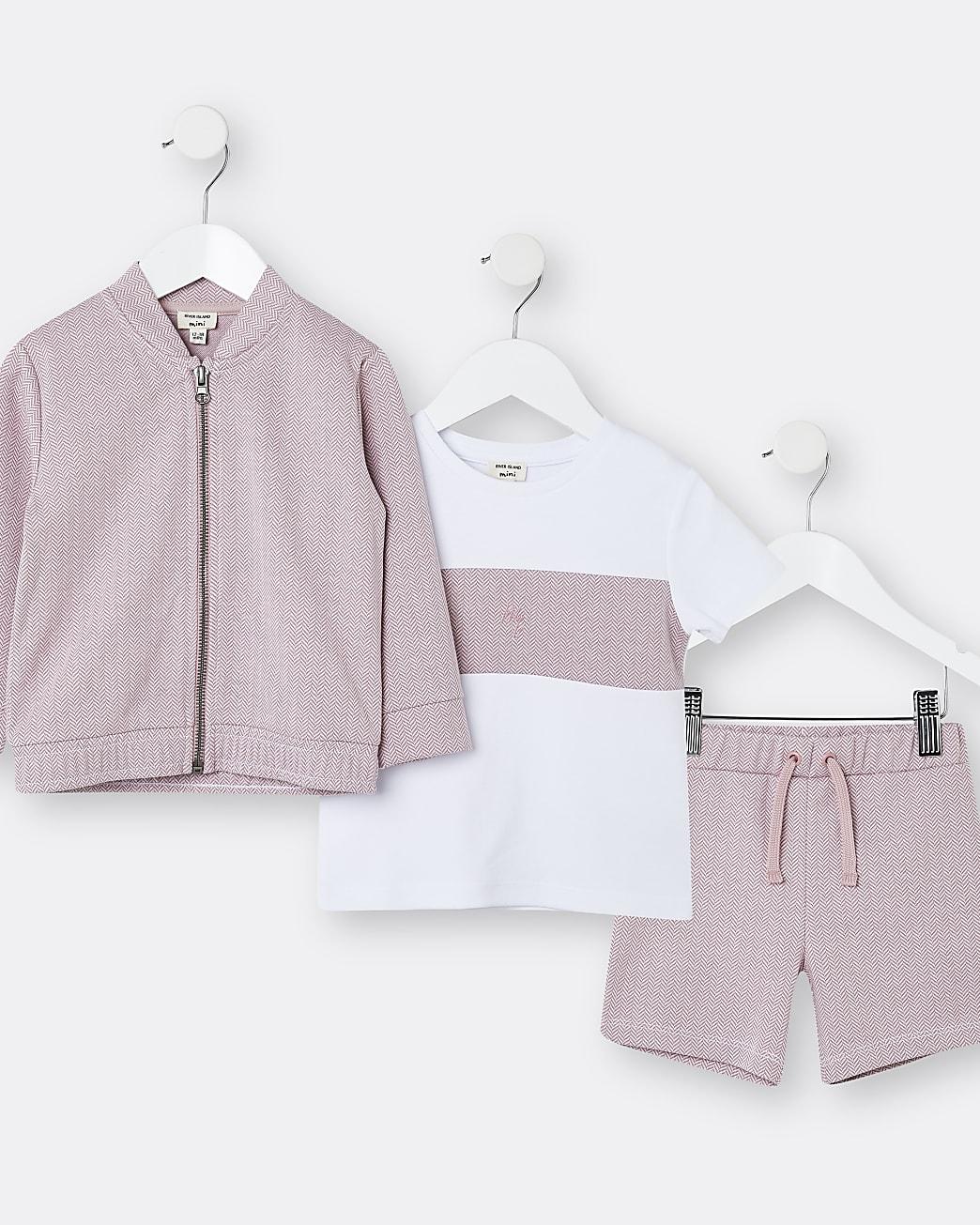 Mini boys pink sweatshirt 3 piece outfit