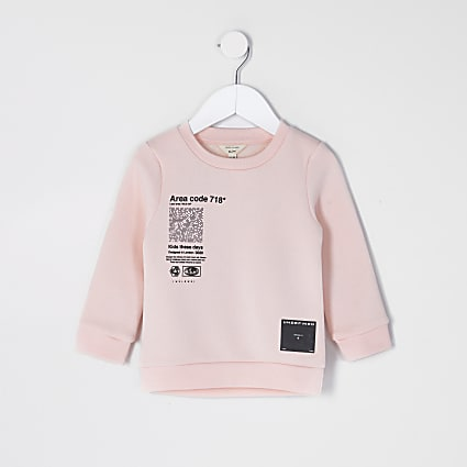 Mini boys pink text print sweatshirt