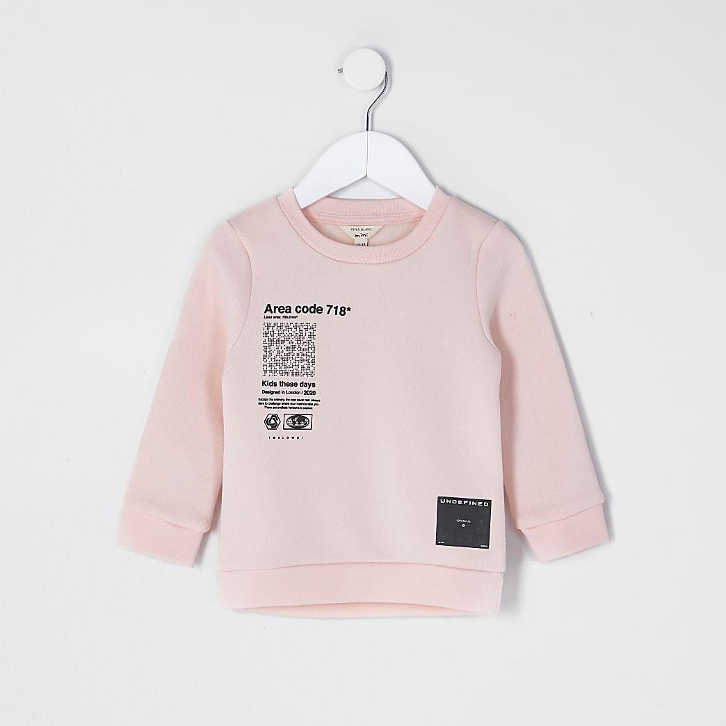 Mini boys pink text print sweatshirt