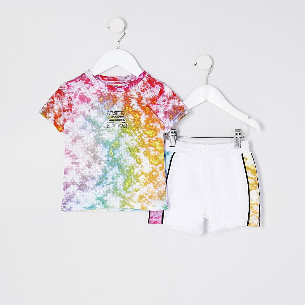 Mini boys pink tie dye outfit