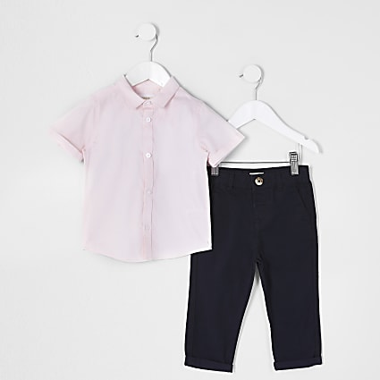 Mini boys pink twill shirt outfit