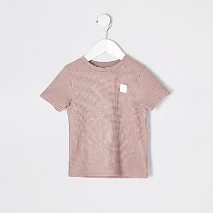 Mini boys pink waffle T-shirt
