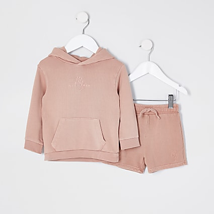 Mini boys pink washed hoody set