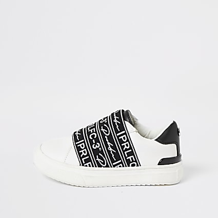 Mini boys Prolific white strap trainers
