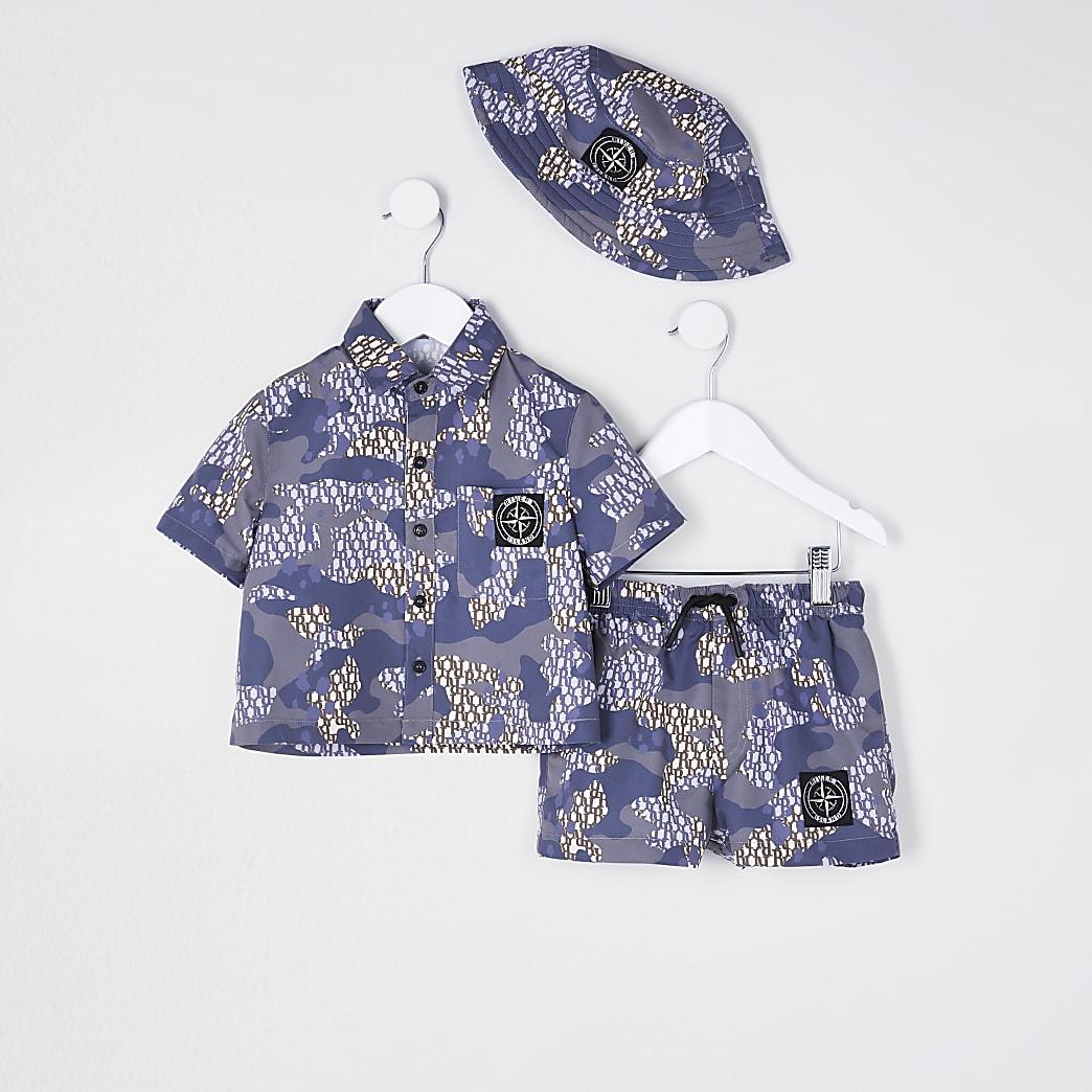 Mini boys purple camo swim shorts set and hat