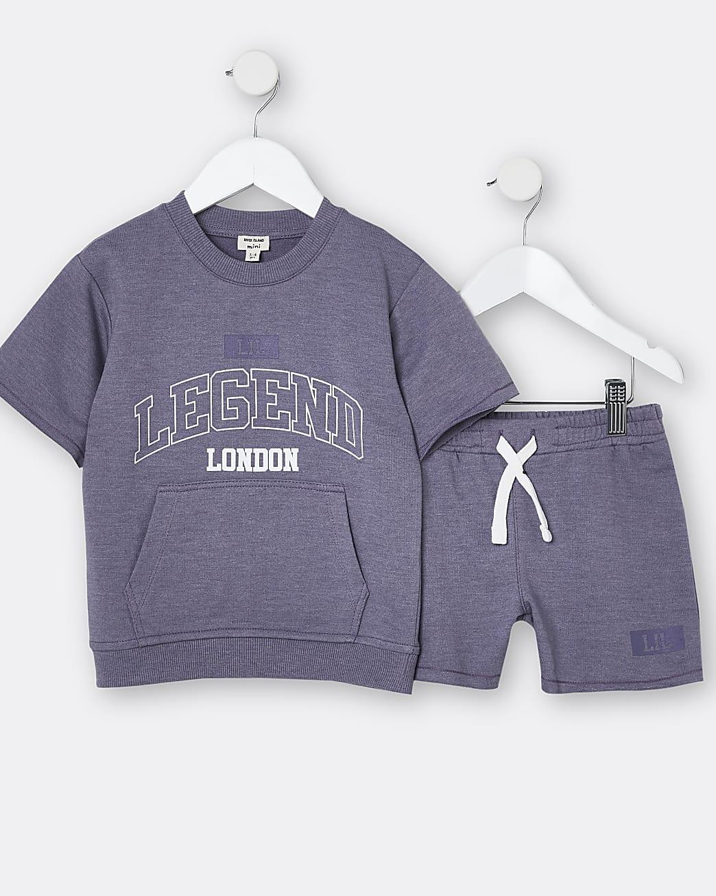 Mini boys purple 'Legend' top and shorts set