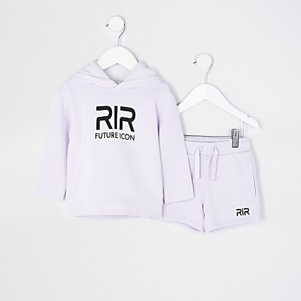 Mini boys purple RIR hoodie and shorts set