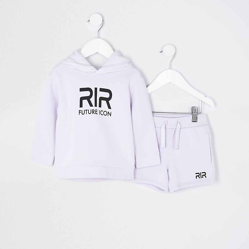 Mini boys purple RIR hoodie and shorts set
