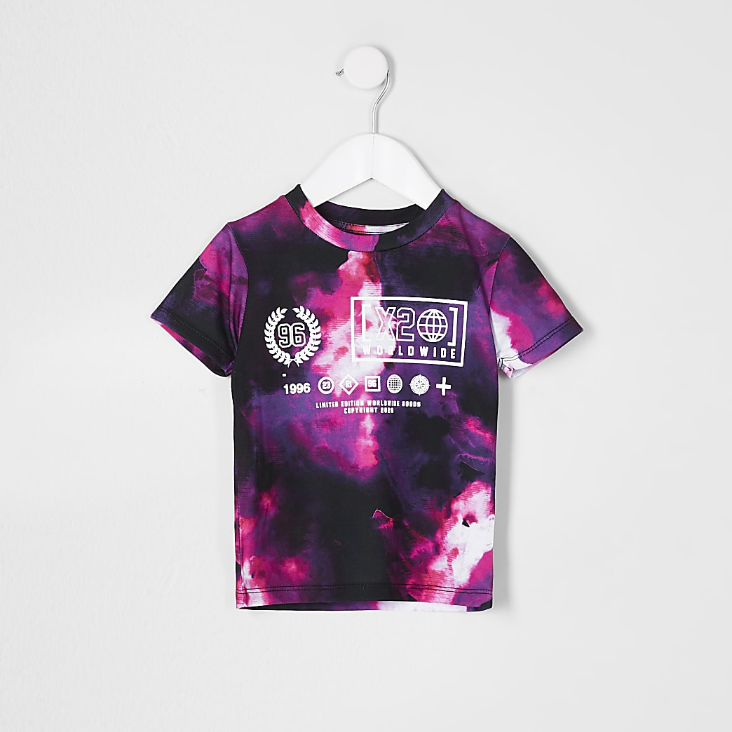 Mini boys purple tie die print t-shirt