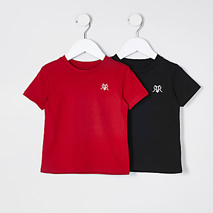 Mini boys red and black 2 pack t-shirts