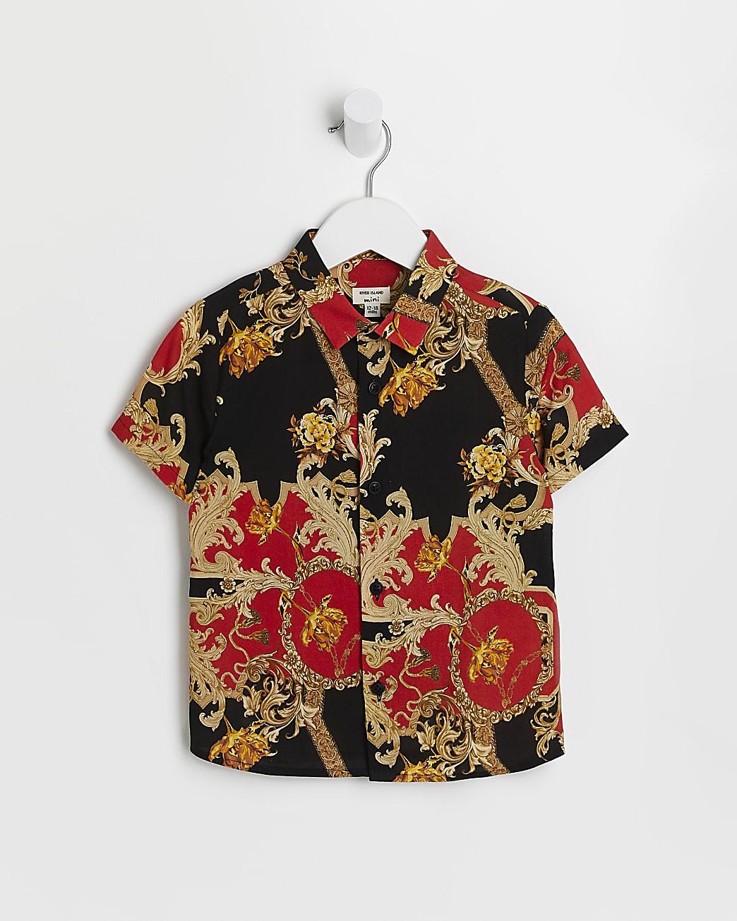 Mini boys red baroque print shirt