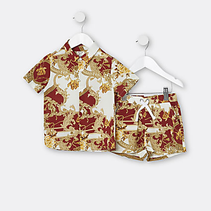 Mini boys red baroque shirt and shorts outfit