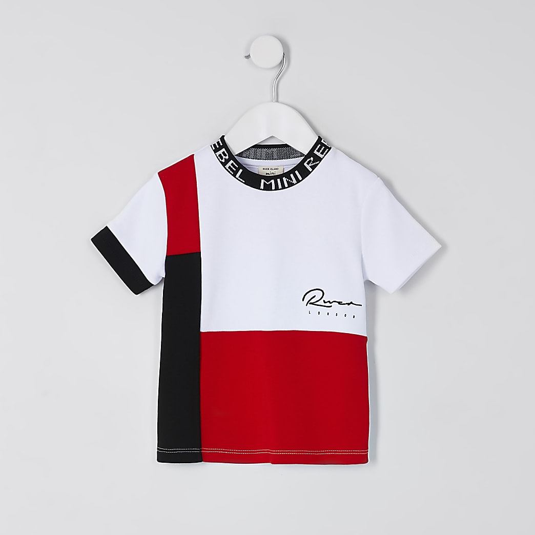 Mini boys red blocked 'River' print t-shirt