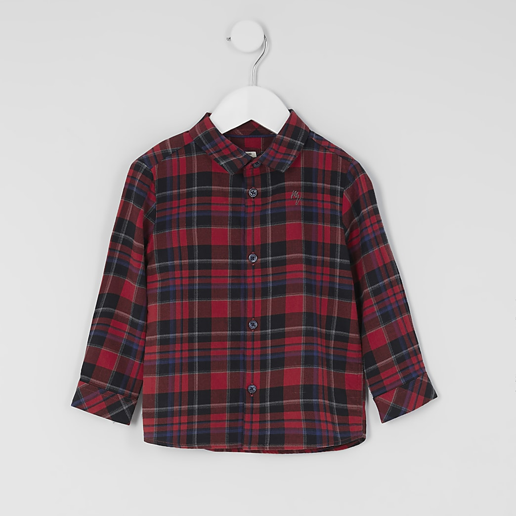 Mini boys red check print long sleeve shirt