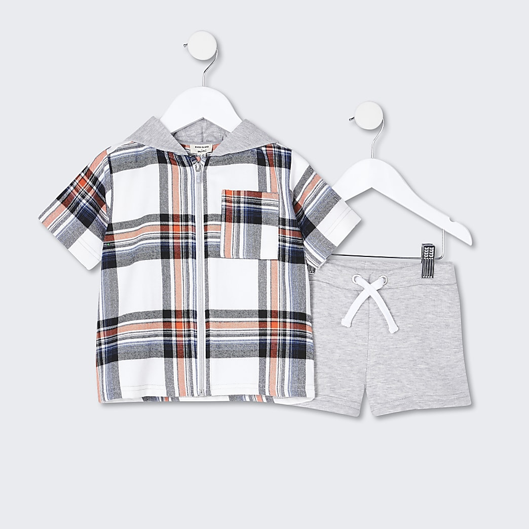 Mini boys red check shirt and shorts set