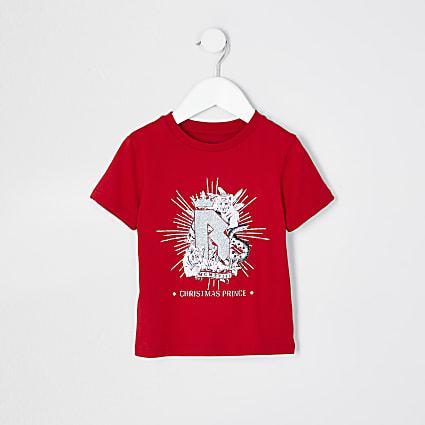 Mini boys red 'Christmas prince' t-shirt