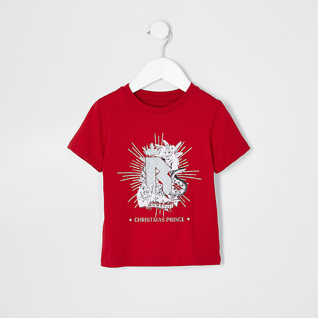 Mini boys red 'Christmas prince' t-shirt