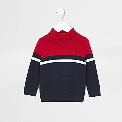 Mini boys red colour block roll neck jumper