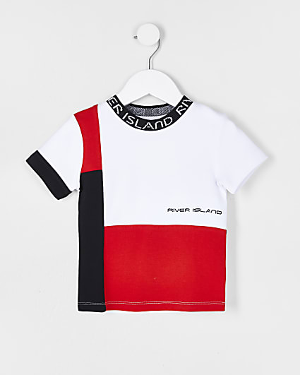 Mini boys red colour block t-shirt