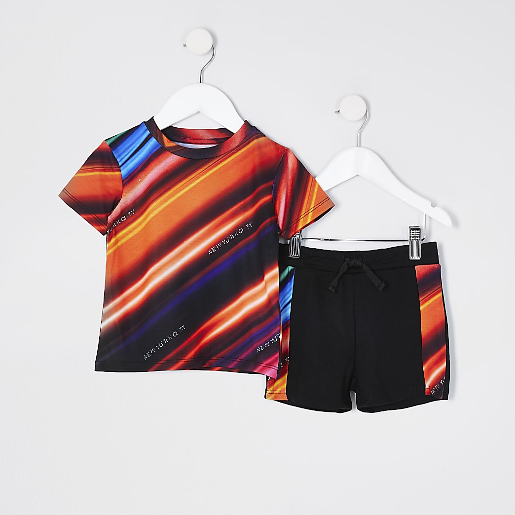 Mini boys red diagonal strobe t-shirt set