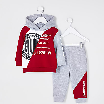 Mini boys red graphic outfit