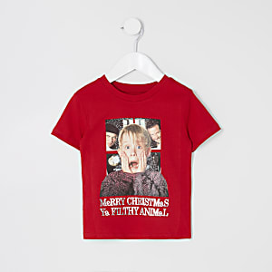"Mini – Weihnachts-T-Shirt ""Home Alone"" in Rot"