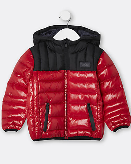 Mini boys red hooded puffer coat