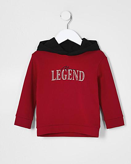 Mini boys red 'Legend' hoodie