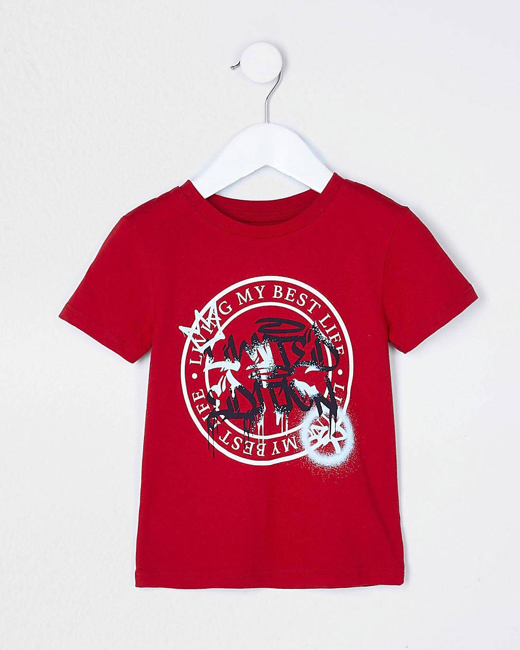 Mini boys red 'Living My Best Life' t-shirt