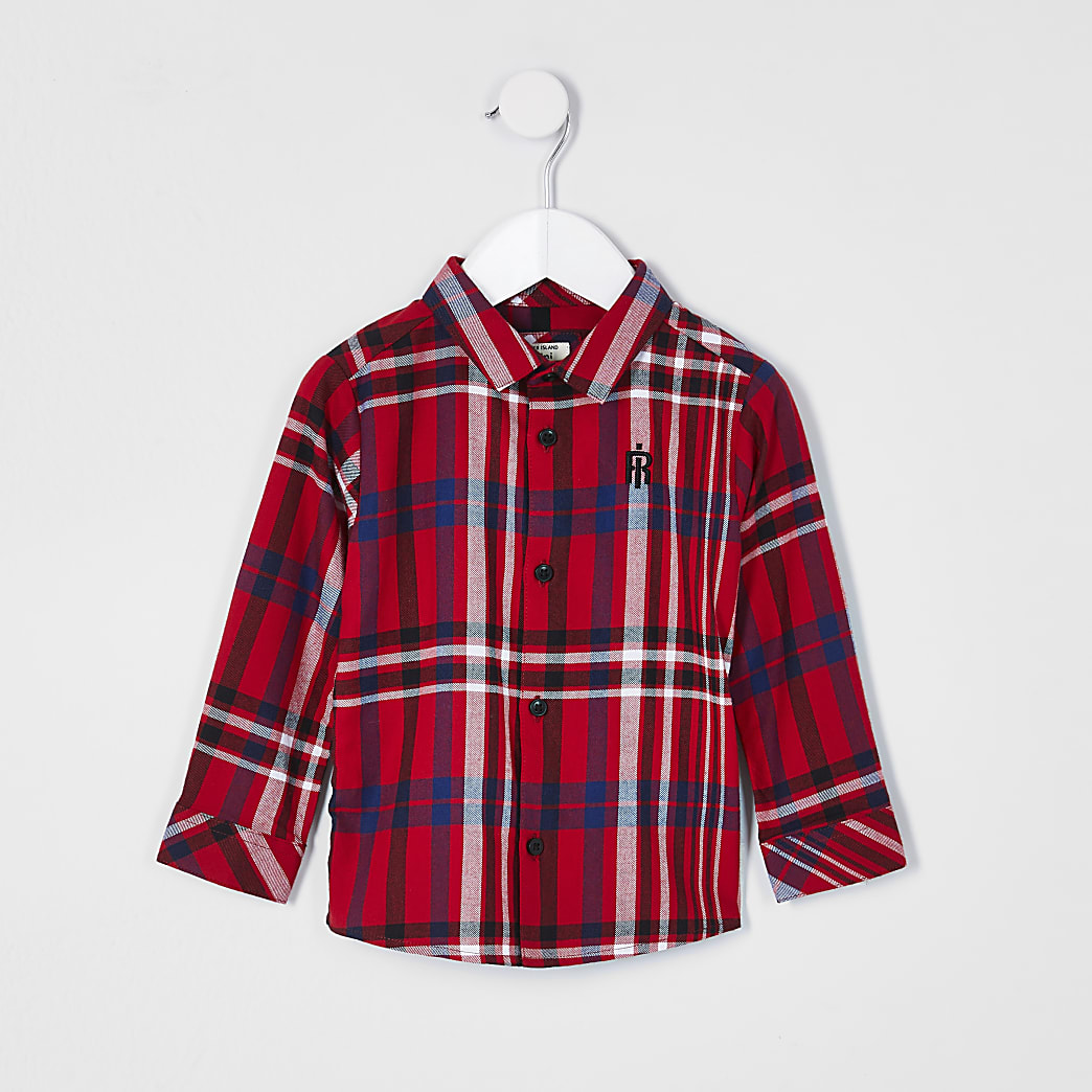 Mini boys red long sleeve check shirt